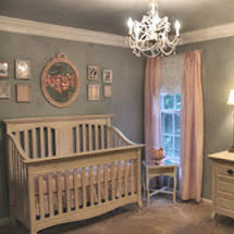 Aqua blue pink and white elegant baby girl nursery crib room