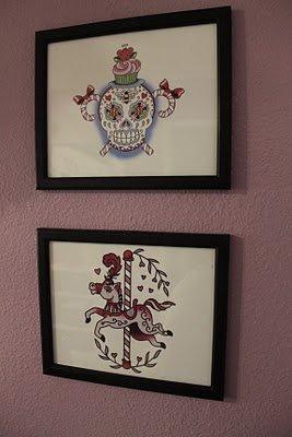 tattoo baby girl skull colorful wall art artwork print