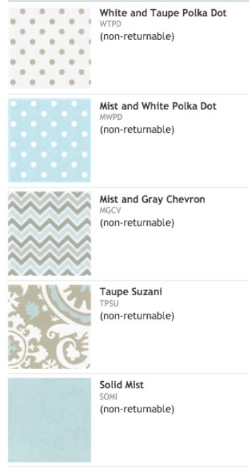 Taupe blue white color coordinated custom baby bedding fabrics