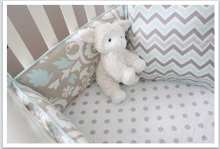 Taupe light baby blue and white custom crib bedding set