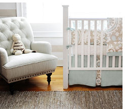Baby blue and taupe boy nursery with custom crib bedding and decor
