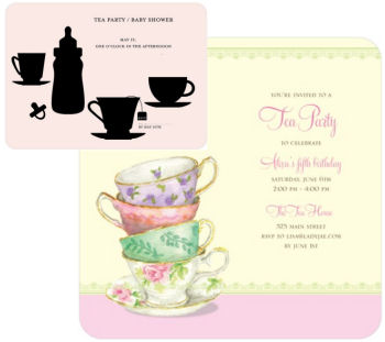 Pink and black tea party baby shower invitations for an elegant party for a baby girl