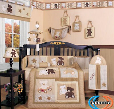 Brown teddy bear baby nursery bedding and decor