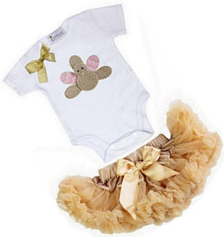 Brown and pink baby girl Thanksgiving turkey tutu dress outfit