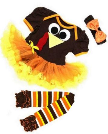 Baby girl brown and yellow Thanksgiving turkey tutu dress pettiskirt