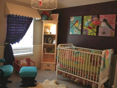 Our Baby Girl's Bold and the Birdy-ful Nursery Decor w Bird Prints and Custom Baby Bedding Sewn from Amy Butler Fabrics