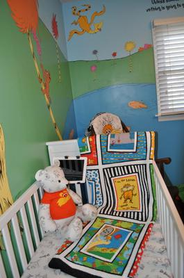 Grandma made all the Lorax theme baby bedding, crib quilt and toys in the nursery
