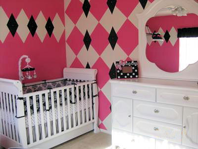 Baby Girl's Pink Black and White Nursery with Argyle Wall Paint Technique and White Nursery Furniture