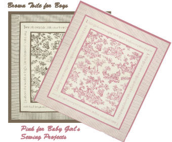 Pink and white and brown and beige toile crib quilts