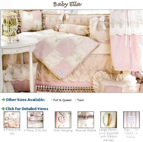 pink and ivory cream white antique vintage french toile baby girl toile baby bedding nursery crib set collection