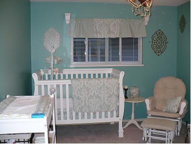Turquoise Black and White Baby Nursery Decor with Damask Print Crib Bedding for a Prince or  a Princess