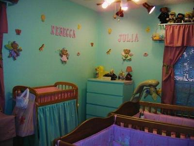 Twin Girls Green and Purple Eclectic Nursery Theme