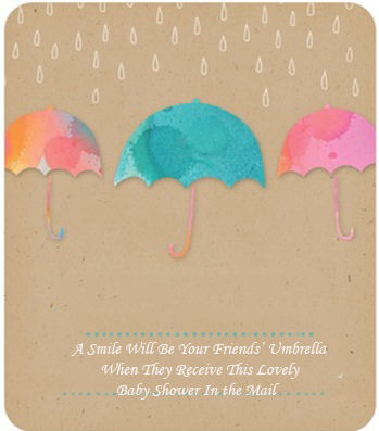 Umbrella baby shower invitation with wording examples