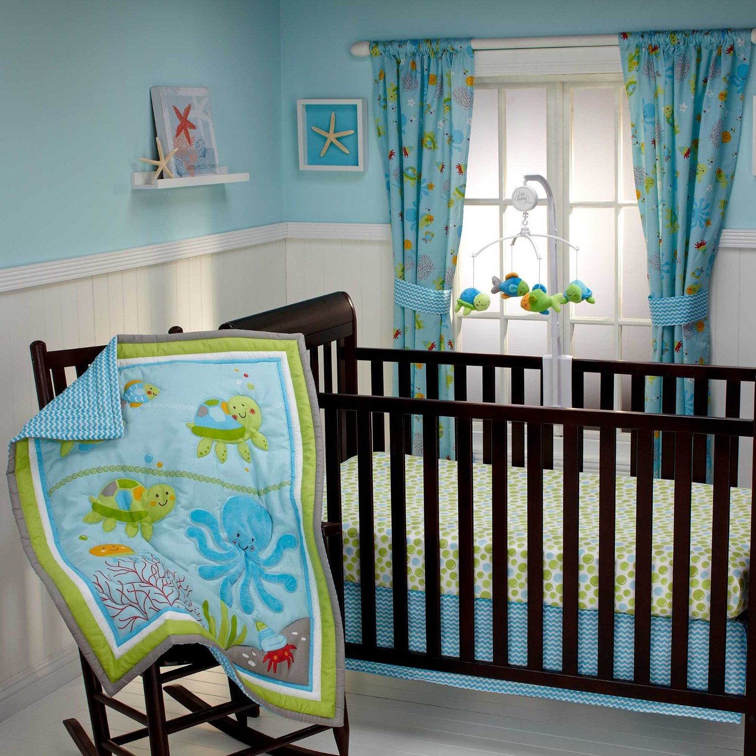Baby bedding set with under the sea creatures for a baby boy nursery