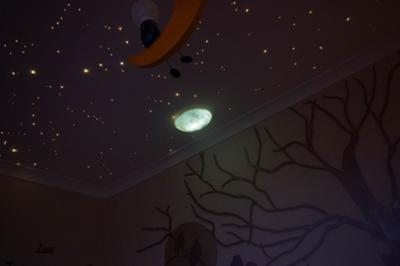 Under the stars theme baby nursery ceiling featuring a realistic view of a night sky created with Starscape fiber optic lights