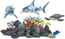 kids murals mural underwater mural pirate shark scuba diver sealife ship wreck tropical fish wall stickers decals wallies wallpaper cut outs
