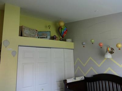 My favorite view of my baby girl's grey and yellow hot air balloon nursery theme