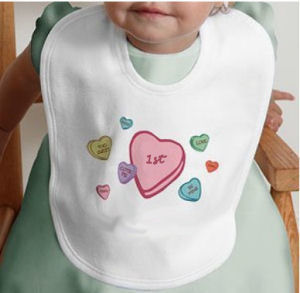 Sweet candy hearts Baby's 1st Valentine's Day bib in pastel colors