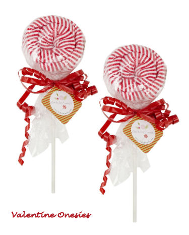 Baby's 1st Valentine's Day Onesies disguised as red and white striped lollipops