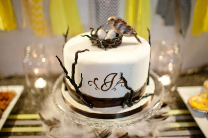 Fondant baby shower cake with bird's nest and eggs cake topper