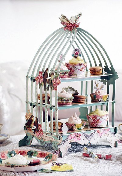 Vintage theme bird house baby shower party cupcake sweets and treats display