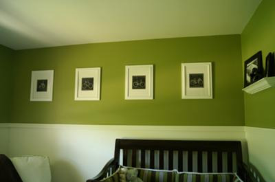 Vintage Bicycle Baby Nursery Theme w Bright Olive Green Walls
