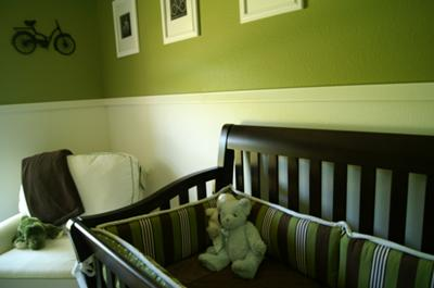 Vintage Bicycle Baby Nursery Theme w Stripes, Polka Dots and Bright Olive Green Walls