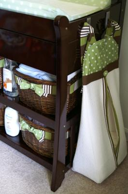 Custom Green and White Polka Dot Baby Diaper Stacker