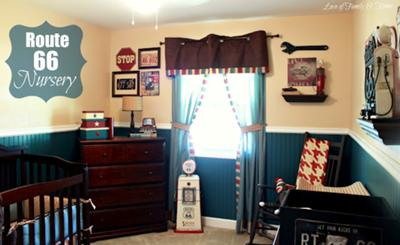 This baby boy's nursery room is decorated with vintage car license plates and a collection of Americana in a Route 66 theme in a very attractive masculine color scheme that moms and dads will love.