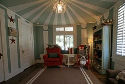 Vintage Circus Nursery with Big Top Ceiling Paint Technique