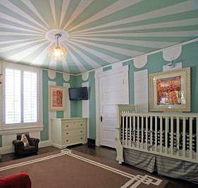 Vintage circus nursery theme for a baby boy with blue and cream white custom ceiling painting technique