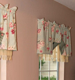 Vintage Floral Print and Plaid Nursery Curtains