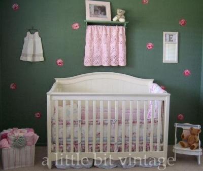 Vintage, shabby chic baby nursery decor