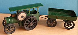 Child's vintage John Deere Green iron farm tractor