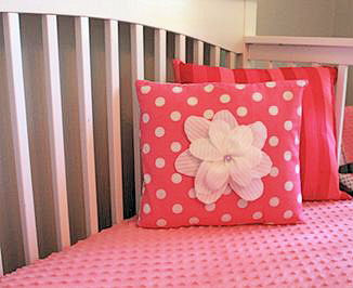 Watermelon pink baby bedding set homemade by mom for her baby girl nursery room