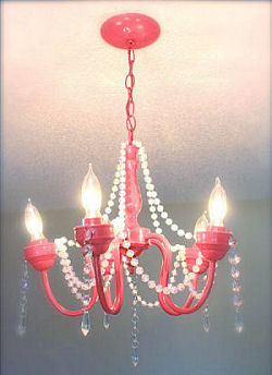 Recycled watermelon pink painted thrift store nursery chandelier for a baby girl nursery room