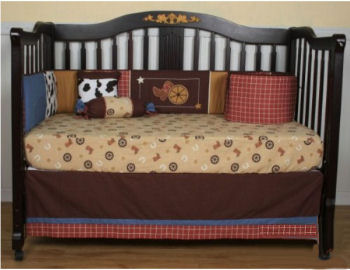 Rustic western cowboy theme nursery crib bedding set with rust red crib skirt and horses and horseshoe print fitted crib sheet
