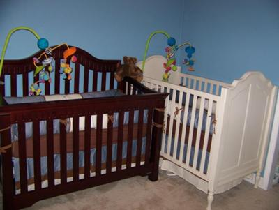 Two cribs for Twin Boys in our Where the Wild Things are Baby Nursery Theme