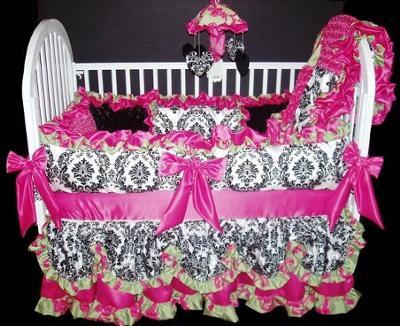 Elegant Black, White Damask Print and Hot Pink Custom Baby Bedding Set