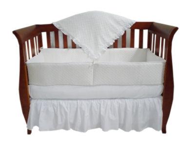 Solid white minky chenille fabric baby nursery crib bedding set