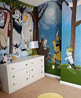 where the wild things are baby nursery wall mural painting. Black Bedroom Furniture Sets. Home Design Ideas
