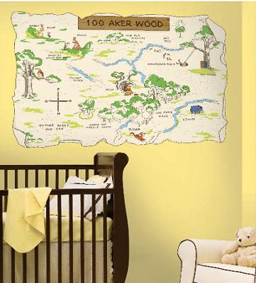Neutral yellow baby nursery room with a Winnie the Pooh Bear Hundred Acre Wood Map Wall Decal