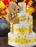 Winnie the Pooh Bear baby diaper cake for a baby shower centerpiece