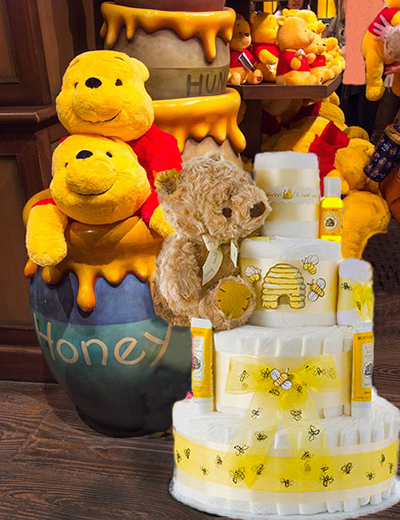 Winnie the Pooh 3 tier baby shower diaper cake gender neutral girl or boy