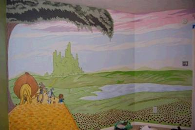 Hadley's Wizard of Oz Nursery  - After 5 days of painting, I finished the mural on the large wall