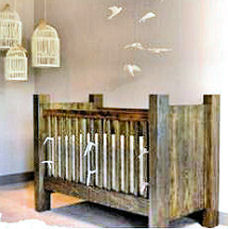 Rustic homemade wooden baby crib