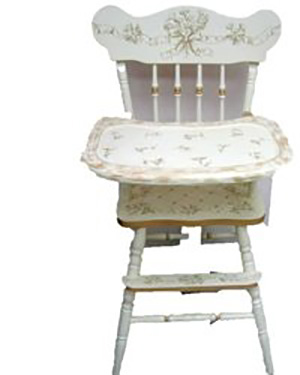 Painted personalized wooden baby high chair