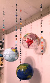DIY world globe baby crib mobile handmade by Mom and Dad