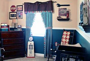 Vintage cars baby nursery theme ideas with walls decorated with antique signs and tools