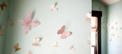 Pink silk butterfly nursery wall decorations